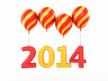 New Year 2014. And colorful balloons render (isolated on white and clipping path Stock Photography