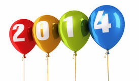 New Year 2014. And colorful balloons render (isolated on white and clipping path Stock Images