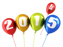 New Year 2015. And colorful balloons render (isolated on white and clipping path Stock Photography