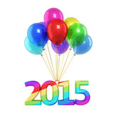 New Year 2015. Colorful balloons and New Year 2015 render (isolated on white and clipping path Stock Photos