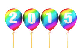 New Year 2015. Colorful balloons render (isolated on white and clipping path royalty free illustration
