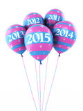 New Year 2015. And colorful balloons render (isolated on white and clipping path Stock Image
