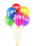 New Year 2015. And colorful balloons render (isolated on white and clipping path stock illustration