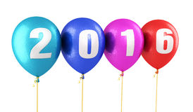 New Year 2016. And colorful balloons render (isolated on white and clipping path Royalty Free Illustration