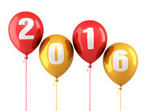 New Year 2016. And colorful balloons render (isolated on white and clipping path Royalty Free Stock Images