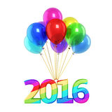 New year 2016 Colorful balloons. Colorful balloons and New Year 2016 render (isolated on white and clipping path royalty free illustration