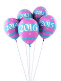 New Year 2016. And colorful balloons render (isolated on white and clipping path Royalty Free Stock Image