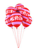 New Year 2016. And colorful balloons render (isolated on white and clipping path Stock Photos