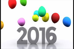 New year 2016. New Year with colorful balloons - video animation 2016 stock video
