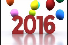 New year 2016. New Year with colorful balloons - video animation 2016 stock footage
