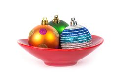 New year colorful balls in red vase Stock Photography