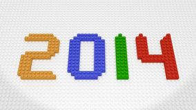 New Year 2014 - Colorful Bricks on White Base Plate Royalty Free Stock Photo