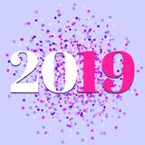 2019, New year, colorful confetti vector stock photos