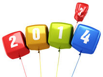 New Year 2014 colorful cube balloons Stock Image