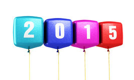 New Year 2015. And colorful cube balloons render (isolated on white and clipping path Stock Image