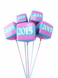 New year 2015 Colorful cube Balloons. New Year 2015 and colorful cube balloons render (isolated on white and clipping path stock illustration