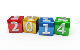 New Year 20143 colorful. New Year 2014 colorful cube ( on white and clipping path Royalty Free Stock Photos