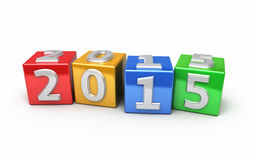 New Year 2015. Colorful cube ( on white and clipping path Stock Photography