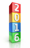 New year 2016 Colorful cubes Royalty Free Stock Images