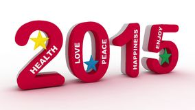 2015 new year colorful design. 2015 3d text and stars Stock Photos