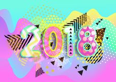 New year 2018. Colorful design. 3D Wavy Background. vector. New year 2018. Colorful design 3D Wavy Background. vector Royalty Free Stock Images