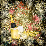 New Year colorful fireworks and champagne vector. New Year colorful fireworks and champagne  merry backgrounds Vector illustration Royalty Free Stock Images