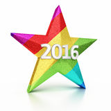 New Year 2016. And Colorful Gradient Star render (isolated on white and clipping path Stock Images