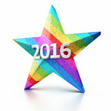 New Year 2016. And Colorful Gradient Star render (isolated on white and clipping path Royalty Free Stock Photos