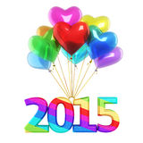 New Year 2015. Colorful heart Balloons New Year 2015 (isolated on white and clipping path Stock Images