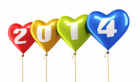 New Year 2014 and colorful heart balloons Stock Photo