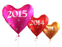 New Year 2015. And Colorful heart balloons render (isolated on white and clipping path Stock Images