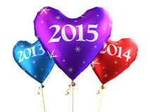 New Year 2015. And Colorful heart balloons render (isolated on white and clipping path royalty free illustration