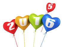 New Year 2016. And colorful heart balloons render (isolated on white and clipping path Royalty Free Illustration