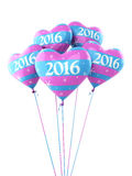 New Year 2016. And colorful heart balloons render (isolated on white and clipping path Royalty Free Stock Photography