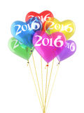 New Year 2016. And Colorful heart balloons render (isolated on white and clipping path Stock Photo