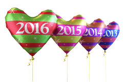 New Year 2016. And Colorful heart balloons render (isolated on white and clipping path Royalty Free Stock Images