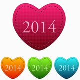 New year 2014 in colorful hearts Stock Images