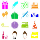 New year colorful icons on white background. Stock vector stock illustration