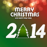 New year 2014 colorful for merry christmas tree. Illustration Royalty Free Stock Photo