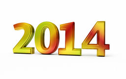 New Year 2014. Colorful metal render ( on white and clipping path royalty free illustration