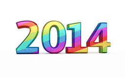 New Year 2014 colorful. Metal render ( on white and clipping path Vector Illustration