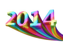 New Year 2014 colorful. Metal render ( on white and clipping path Stock Photos