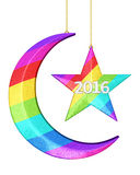 New Year 2016. Colorful New year 2016 Moon and star shape Christmas decorations render (isolated on white and clipping path Stock Illustration