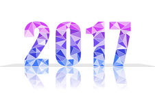 2017 New Year in colorful polygon design. 2017 New Year in Polygon blue pink purple color , EPS10 Stock Images