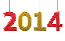New Year 2014. And colorful render (isolated on white and clipping path Royalty Free Stock Photos