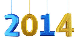 New Year 2014. And colorful render (isolated on white and clipping path Stock Illustration