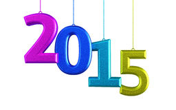 New Year 2015. And colorful render (isolated on white and clipping path Royalty Free Stock Photography