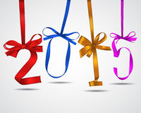 New year. Colorful ribbons greeting card Stock Images