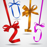 New year. Colorful ribbons greeting card royalty free illustration
