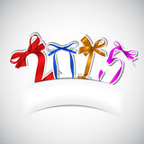 New year. Colorful ribbons greeting card vector illustration